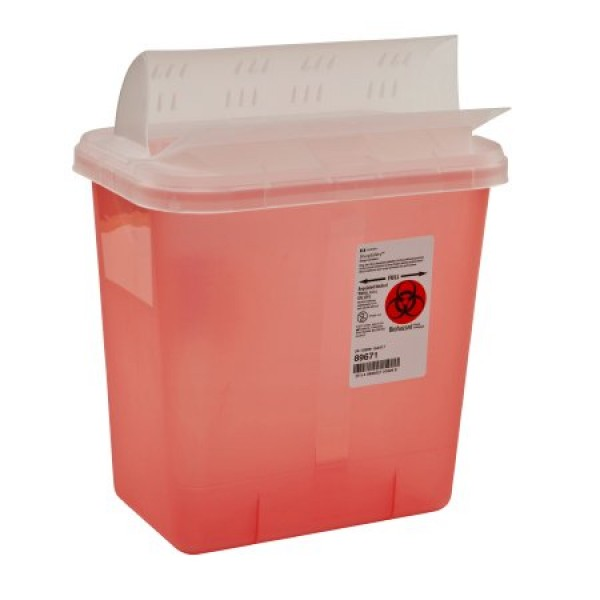 Covidien 2 Gallon Red SharpSafety Sharps Container with Horizontal Drop Opening Lid 89671