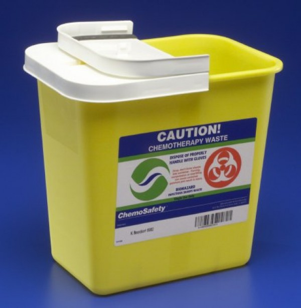 Covidien 2 Gallon Yellow SharpSafety Sharps Container with Hinged Lid for Chemotherapy 8982