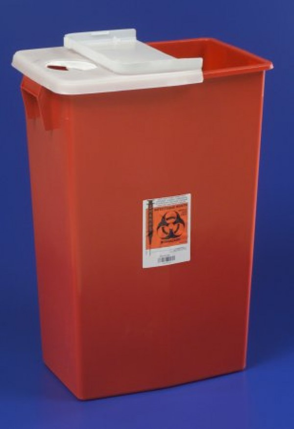 Covidien 18 Gallon Red SharpSafety Sharps Container with Hinged Lid 8991