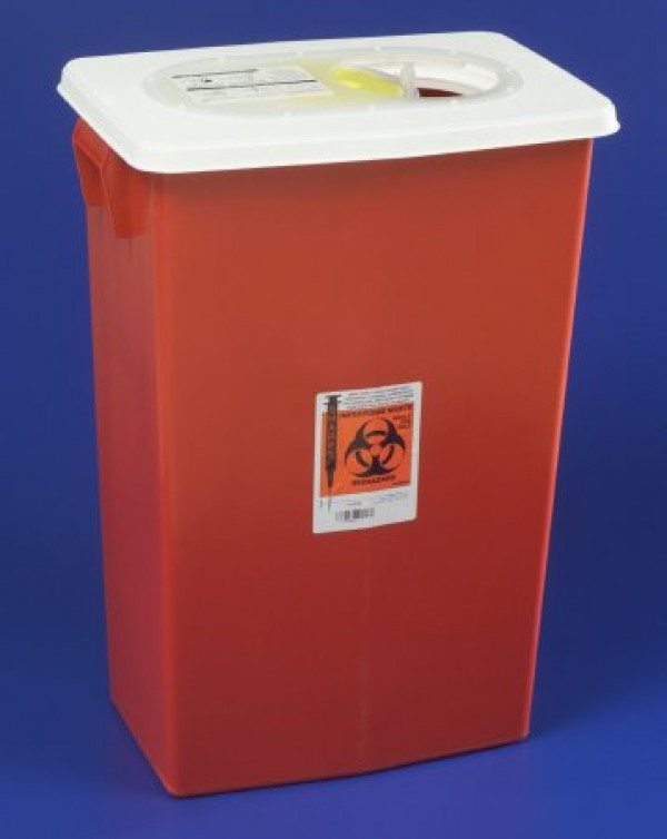 Covidien 18 Gallon Red SharpSafety Sharps Container with Gasketed Hinged Lid 8998