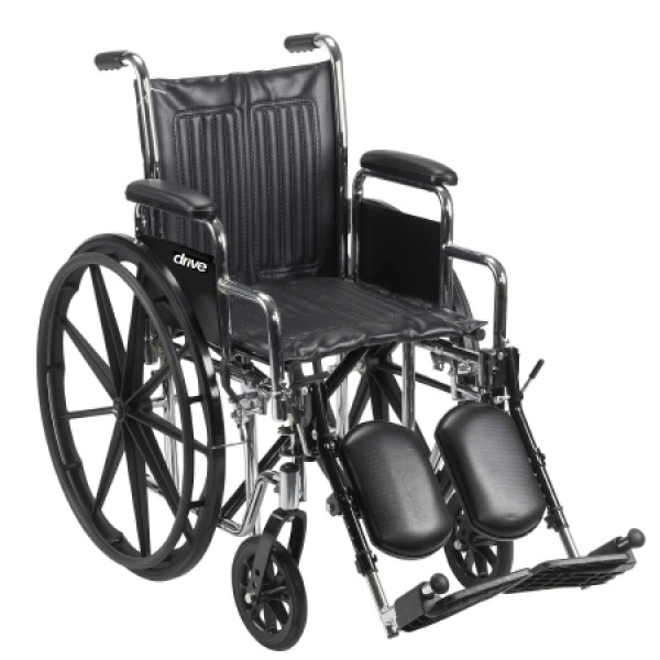 Drive Medical Drive Chrome Sport Wheelchair with Various Seat Sizes Arm Styles and Foot Rigging Options