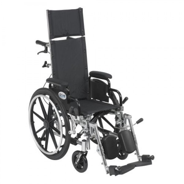 Drive Viper Plus Light Weight Reclining Wheelchair with Elevating Leg rest and Flip Back Detachable Arms