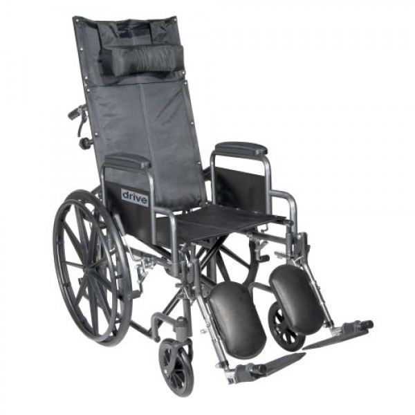 Drive Silver Sport Reclining Wheelchair with Elevating Leg Rests