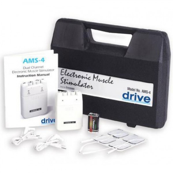 Drive Medical Electronic Muscle Stimulator EMS with Timer and Carrying Case
