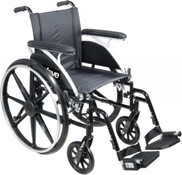 Drive Medical Viper Wheelchair with Various Flip Back Desk Arm Styles and Foot Rigging Options