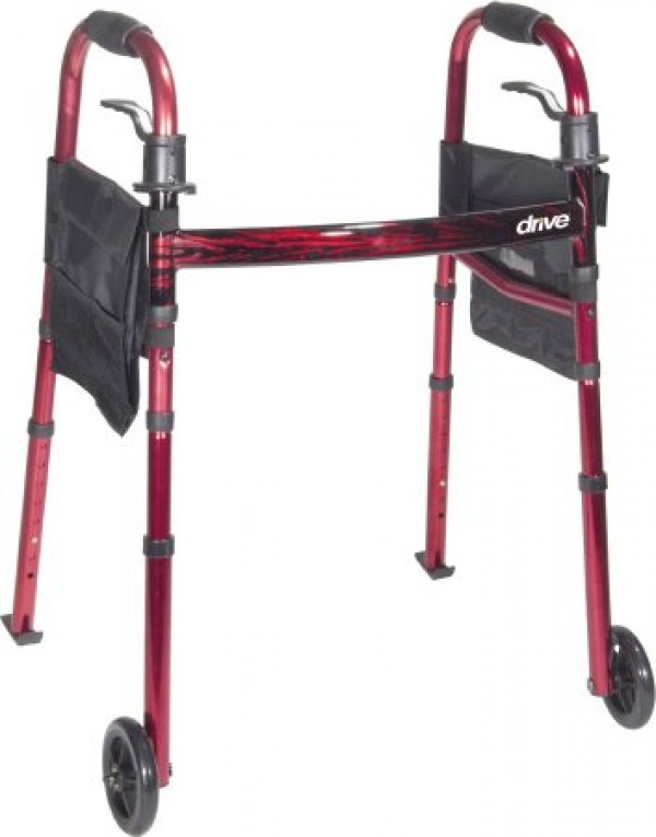 """Drive Medical Portable Compact Folding Travel Walker with 5"""" Wheels and Fold up Legs by Drive"""