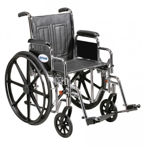 Drive Medical Sentra EC HEAVY DUTY Wheelchair with Various Arm Styles and Foot Rigging Options