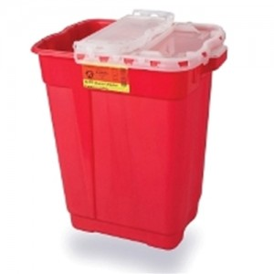 Becton Dickinson Sharps Collector Dual Opening Hinge Top 17 Gal Red