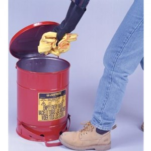 Justrite  Red Oily Waste Can With Foot Lever Opening Device