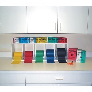 Cando Exercise Band Rack with 5 Resistance Band Rolls