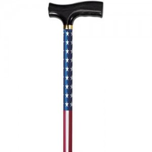 Designer Adjustable Derby Cane - Red White Blue Flag Design
