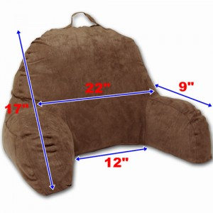 Microsuede Bedrest Reading Pillow - Brown