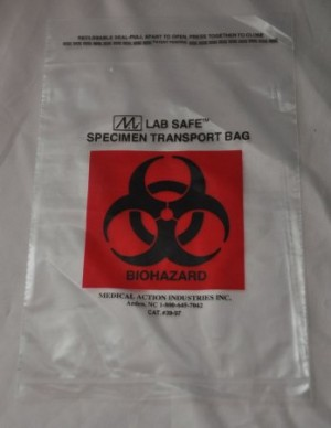 McKesson Biohazard Symbol Speciment Transport Bag