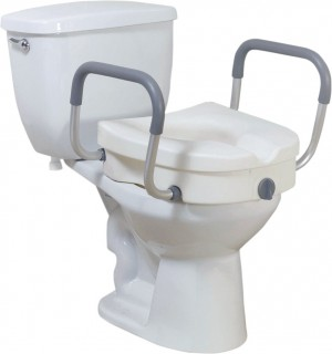 Drive Raised Toilet Seat with Removable Padded Arms, Standard Seat