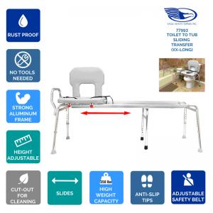 Toilet-to-Tub Sliding Transfer Bench