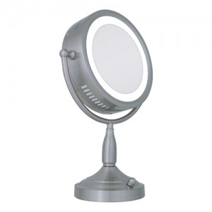 Zadro 1X/8X Double-Sided Round Lighted Mirror