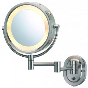 Jerdon Lighted Brushed Nickel 5X Magnifying Wall Mirror