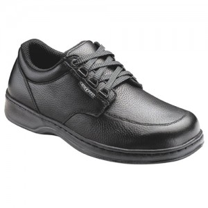 Orthofeet Mens Avery Island Fast Lace Black Leather Orthopedic Shoes