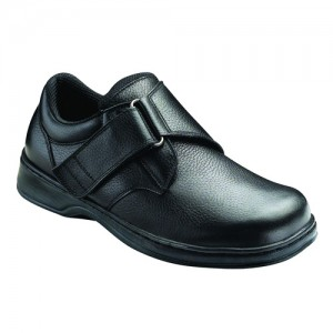 Orthofeet Broadway Mens Strap Black Leather Orthopedic Shoes