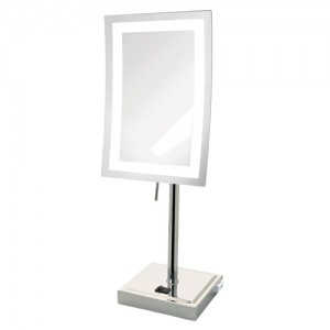 Jerdon Rectangular 6.5 inch x 9 inch LED Lighted 5X Table Top Mirror