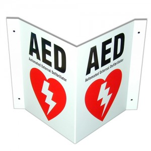 3 Way AED Wall Sign