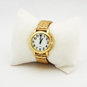 One-Button Talking Watch with Alarm - Gold w/White Face