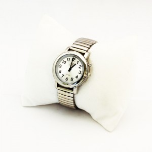 One-Button Talking Watch with Alarm - Silver w/Silver Face