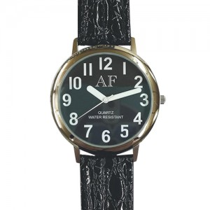 Unisex Low Vision Silver Tone Watch w/Black Face