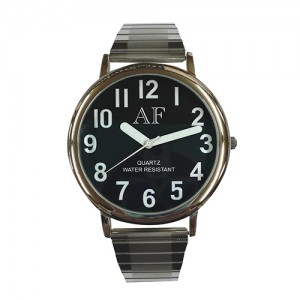 Unisex LV Silver Tone Watch w/Black Face