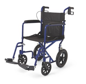 "Medline Lightweight Transport Adult Folding Wheelchair with 12"" Wheels"