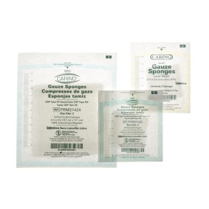 Caring 4 x 4 Inch Woven Gauze Sponges 8 Ply Sterile - PRM4408