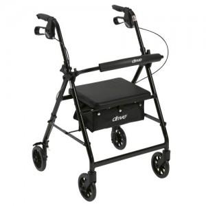"""Drive Walker Rollator with 6"""" Wheels, Fold Up Removable Back Support, and Padded Seat"""