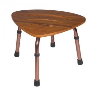 Drive Adjustable Height Teak Bath Bench Stool