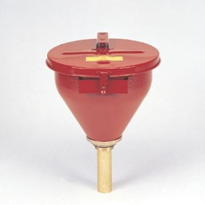 Justrite  Red Steel Drum Funnel With 6  Brass Flame Arrestor