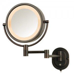 Jerdon 5X Lighted Magnifying Mirror Bronze