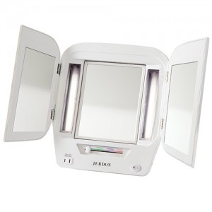 quick view jerdon euro tri fold lighted makeup mirror