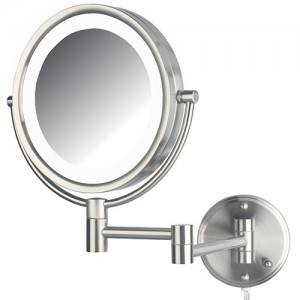 Jerdon 2-Sided (1x/8x) Swivel LED Lighted Wall Mount Mirror