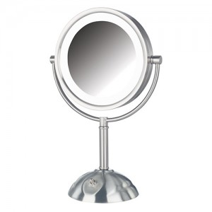Jerdon 8-1/2 Inch Tabletop 2Sided Swivel LED Lighted Mirror
