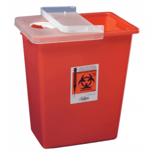 Covidien 8 Gallon Red SharpSafety Sharps Container with Hinged Lid 8980