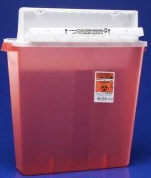 Covidien 4 Gallon Transparent Red SharpSafety Sharps Container with Counterbalance Lid 8541SA