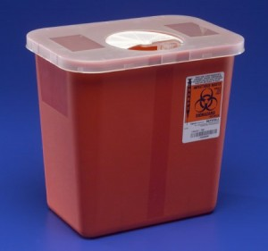 Covidien 2 Gallon Red Sharps Container with Rotor Lid 8970
