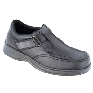 Orthofeet Carnegie Mens Slip-On Black Leather Orthopedic Shoes