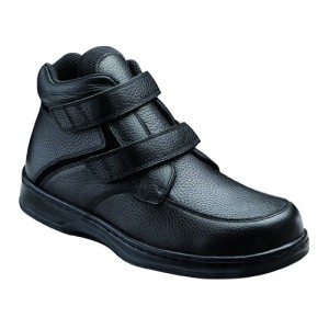 Orthofeet Glacier Gorge Mens Black Leather Orthopedic Strap Boots