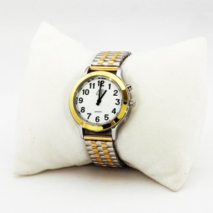 One-Button Talking Watch with Alarm - 2 Tone Silver/Gold