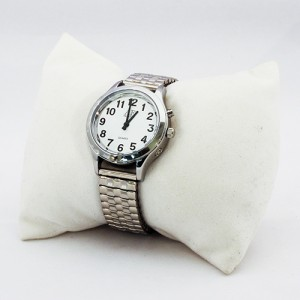 One-Button Talking Watch with Alarm - Silver w/White Face