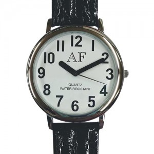 Unisex Low Vision Silver Tone Watch w/White Face