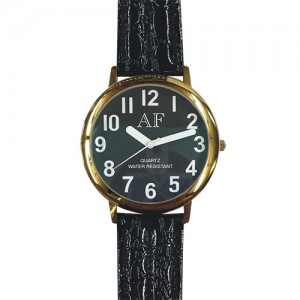 Unisex Low Vision Gold Tone Watch w/Black Face
