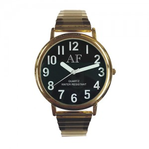 Unisex LV Gold Tone Watch w/Black Face