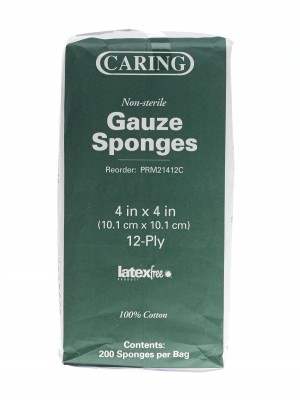 Caring PRM21412C 4 x 4 Inch Woven Gauze Sponge 12 Ply