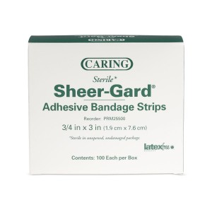 Caring Plastic Adhesive Bandages, Latex Free Sterile